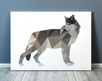 Wolf poster Colorful decor Animal art Polygonal print TO351-1