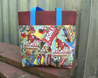 Boys Marvel Comic Tote Bag Library Bag