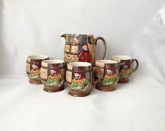 Beswick England Merry Wives Of Windsor Jug and 5 Mugs