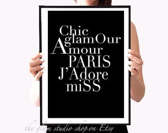 Fashion Art Printable Paris Chic Fashionista Gift Idea for her Room Decor Home Black and White Inspirational print Instant Download