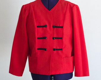 1980s military inspired red collarless blazer