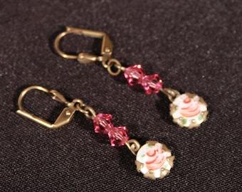 Enamel Rose and Pink Swarovski Earrings