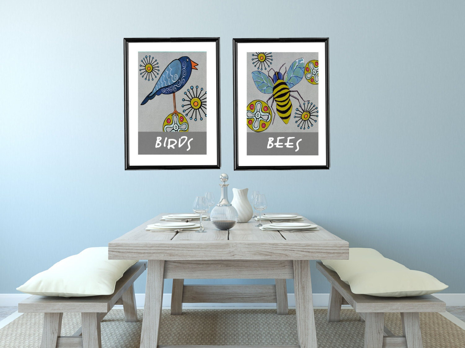 birds and bees whimsical nature prints for home or baby nursery birds and bees art baby nursery cool bee animal