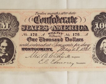 1861 Counterfeit 1000 Dollar Confederate Note.