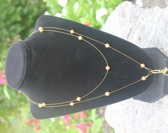 Pearl Badge Lanyard Necklace Swarovski Handmade Gold Crystal Unique