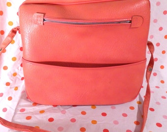 PINK Suitcase Luggage Tote Travel Bag Vintage 60s Mod