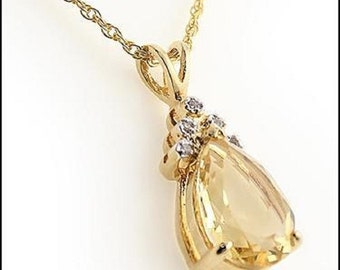 3.85 Ct. Citrine and Diamond Pendant Necklace.