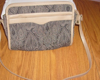 Vintage Montella shoulder bag/clutch, olive black print and taupe faux leather