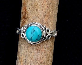 Turquoise Ring  Sterling Silver Turquoise Stone Gemstone Ring, Turquoise Genuine Silver Ring Size US 4 5 6 7 8 9 10 11 12