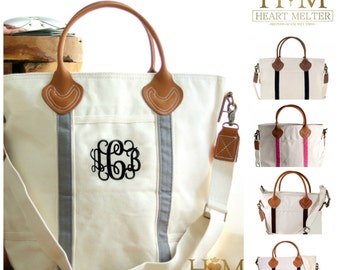 Monogrammed Travel Tote - Carry On Bag - Monogrammed Flight Bag - Monogrammed Canvas Bag - Bridal Gift - Zip Top
