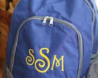 Monogrammed Navy Backpack - College Backpack- Campus Backpack- Back to School - Personalized Backpack