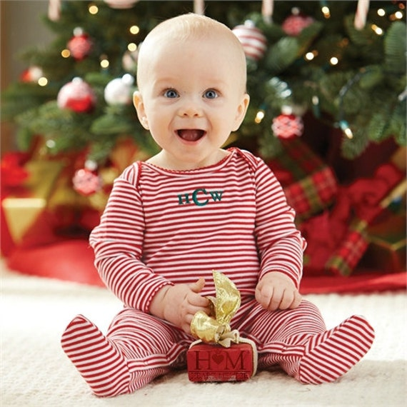 Monogrammed Red Stripes Baby Sleeper Baby Christmas Gift