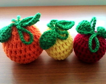 Set of 3 Crochet Fruit Cozies