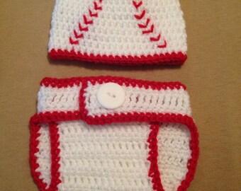 Baseball hat & diaper cover, crochet, baseball fans, baseball