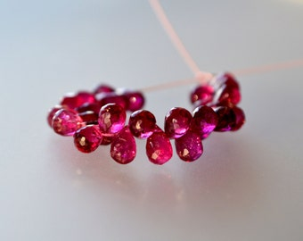Rubellite Tourmaline faceted briolettes PRICE REDUCED! New price reflects 1/3 off!