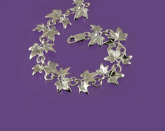 Ivy leaf link bracelet inspired by nature and hand-made in 925 sterling silver