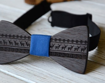 Christmas Sale Christmas Bowtie Wooden Engraved Wedding party Bow Tie Groomsmen Best Man Gift Father Christmas Reindeer Print Pattern
