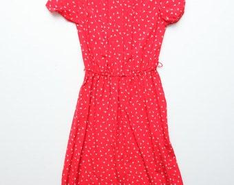 Vintage 1980's Does 50's Karin Stevens Bright Red Flower Bud Allover Print Dress Size 4