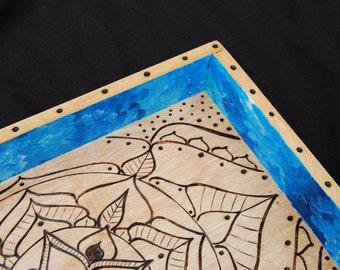 Wooden Mandala Tray - Blue, Bohemian Home Decor, Wood Burned Art