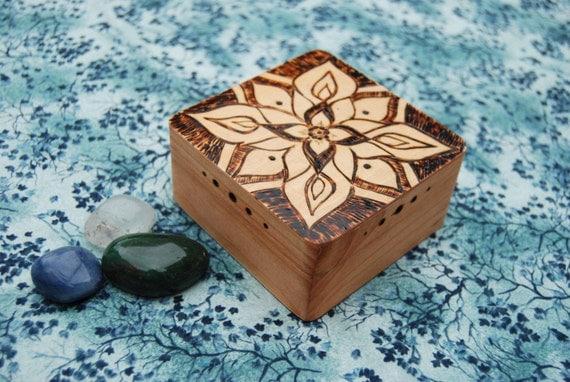 Small Wood Trinket Box Navy Wood Burned Mandala By LunaticJune
