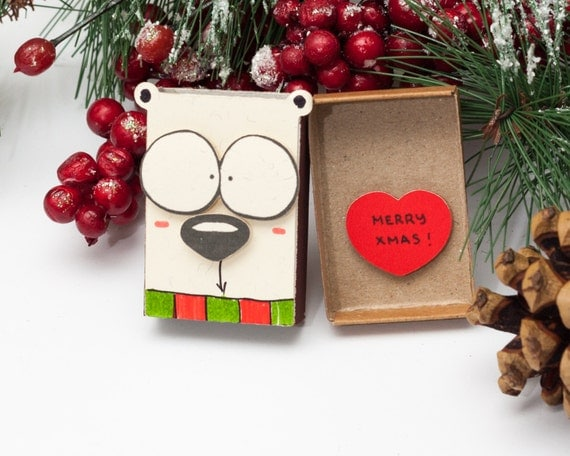 Items similar to sale funny christmas card matchbox dog for Best personalized christmas cards