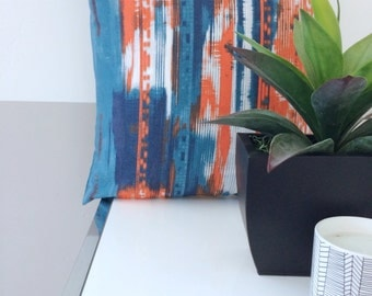 Modern Orange, Blue, and White Contemporary Pillow Cover in 18x18