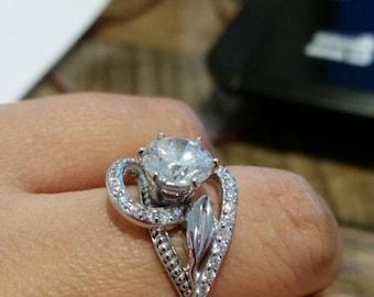 14K White Gold Engagement Ring White Gold Diamond Ring 8mm Round Diamond Engagement Ring Unique Engagement Ring