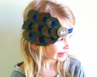 Peacock Feather Headband/Peacock Costume/Halloween Costume/Newborn Photo Prop/Feather Headband/Adult Headband/Girl Headband/Feather Costume