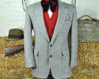 Fab 42S / 42 Short Gray Patch Pocket Stripe Tweed Blazer With A Beautiful Blend of Secondary Colors