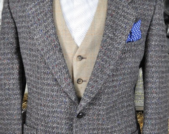 Thick Quality 42R / 42 Regular Patch Pocket Speckled Tweed Blazer