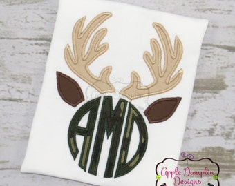 Monogram, Deer Antlers Applique Machine Embroidery Design, 5 Sizes, Boy, Girl, Deer, Hunting, Fall, Thanksgiving, 4x4, 5x7, 6x10, 7x11, 9x9