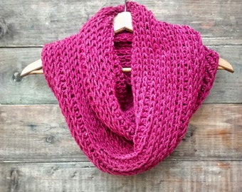 Triple Luxe Cowl | Handmade |  Crochet |  Cranberry | Infinity Cowl | Infinity Scarf