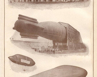 Dirigibles original 1916 balloon print - Wall decor, art print, zeppelin, air travel - 99 years old antique encyclopedia illustration (B001)
