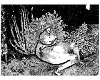 Not So Alone At Night - original ink drawing