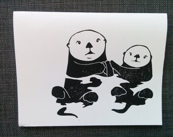 Otters Holding Hands Blank Card Block Printed