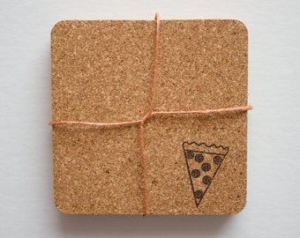 pizza coasters, cork coasters, coasters for guys, cute coasters, hipster coasters, cork coaster, pizza cork coasters, pizza, cork