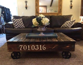 Superior Industrial / Rustic Rail Cart Coffee Table, Farmhouse Style, Reclaimed Wood Coffee  Table