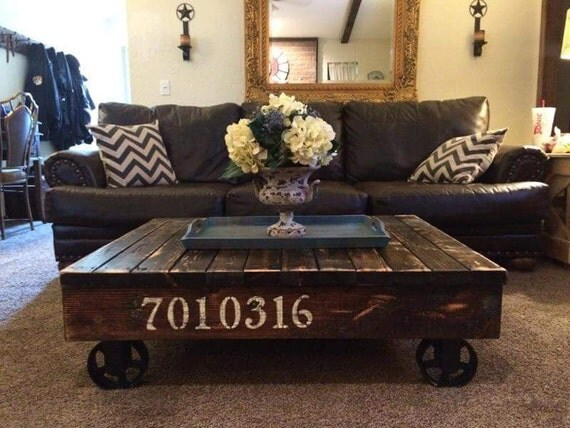 Industrial rustic rail cart coffee table farmhouse style for Industrial farmhouse coffee table