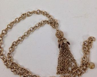 Vintage 1970s Brass Tassel Pendant on Long Chain