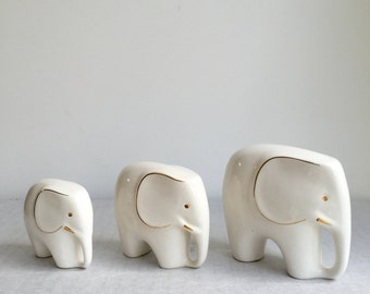 Vintage elephant, set of three porcelain elephants, mid century modern, Luigi Colani style