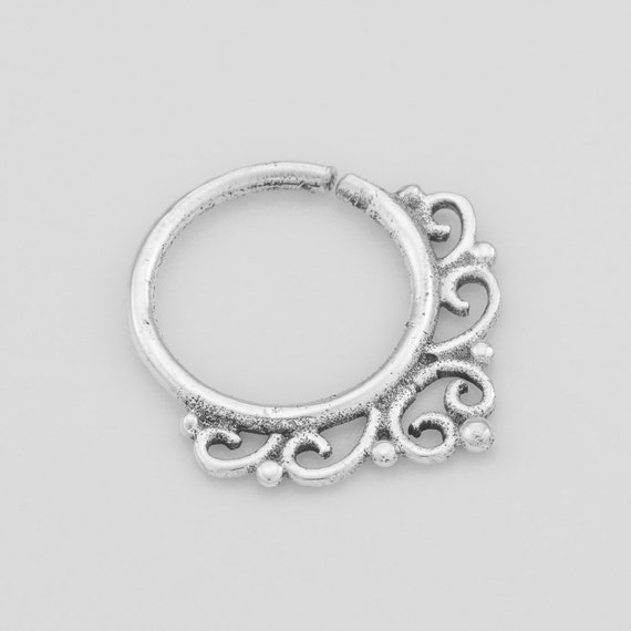 silver septum ring septum ring 18g nose ring by