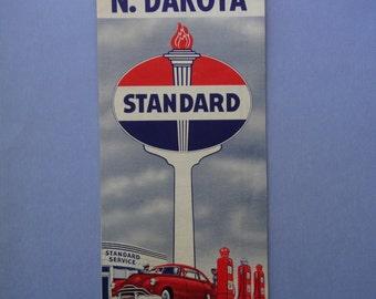 1948 Standard Oil North Dakota Road Map