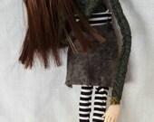OOAK art doll, gothic art doll, Ooak goth doll, big art doll, sweet art doll, goth decor, Ooak doll art, cartoon art doll, puppet, Paisley