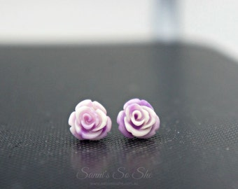 Rose carved earrings - Semi Precious stone, Purple white coral stone, bead agate, flower earrings, rose flower stone, natural stone