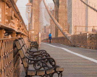 Brooklyn Bridge Photograph, Bench In Morning Light, New York City, Color Photograph, Large Wall Art, Modern, Travel Art, Architecture
