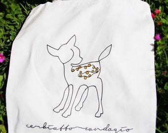 Tote bag_shopper randagio_in Fawn hand painted cotton