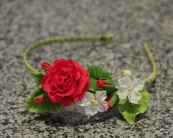 Hair hoop with red rose, hair accessory, wedding accessories, red flower, girl headband, rose weddings, bridal flowers, rose hair hoop