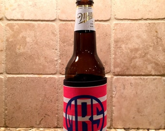 Can Huggie - Custom Can Wrap Coozie - Can Hugger - Monogrammed Bottle Holder - Monogrammed Gift - Custom Can Holder