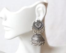 Jaipur Jhumkas,  Cute Statement Jhumkas, Silver look alike jhumka, Tribal Jhumka