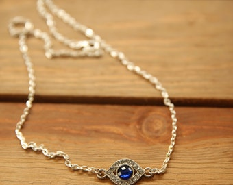 Evil Eye, Silver Crystallized Evil Eye Necklace, protection necklace, blue crystal, gift for her